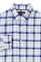 Classic Men's Traditional Fit Long Sleeve Pattern Flagship Flannel Shirt-Ivory/Evening Indigo Plaid