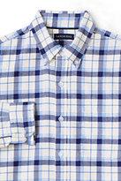 Lands' End Men's Slim Fit Long Sleeve Pattern Flannel Shirt-Dark Sapphire Plaid