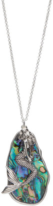 Oori Trading Women's Necklaces SILVER - Blue Abalone & Silvertone Mermaid Pendant Necklace