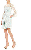 Eliza J Illusion Lace Bell Sleeve Dress