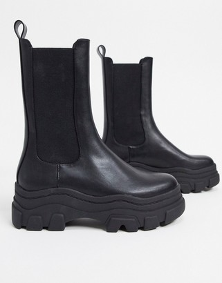 Bershka stretch ankle boot with track sole in black