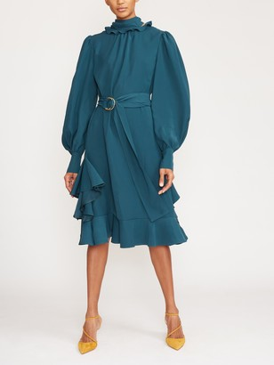 ADEAM Long Sleeve Ruffle Trim Scarf Dress