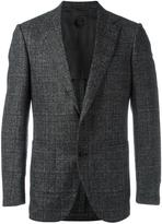 Caruso notched lapel plaid blazer