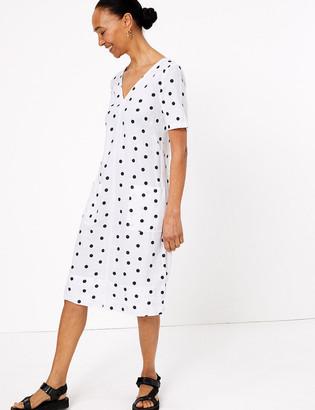 Marks and Spencer Linen Polka Dot V-Neck Shift Dress