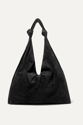 The Row Bindle Double Knots Suede Shoulder Bag - Black