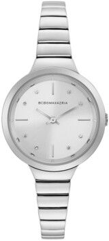 BCBGMAXAZRIA Ladies Silver Bracelet Watch with Silver Dial, 34mm