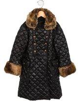 Junior Gaultier Girls' Faux Fur-Trimmed Quilted Coat