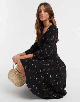 Ghost joy crepe cherry print mididress in black