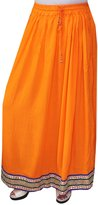 Maple Clothing Women Solid Color Rayon Long Skirt India Clothes