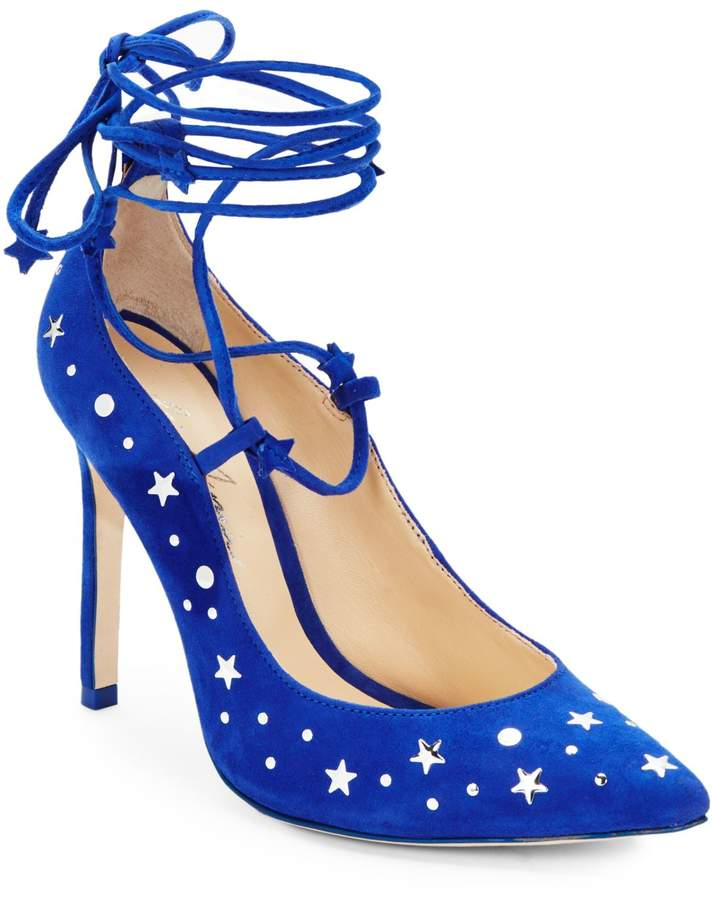 Isa Tapia Walska Star-Studded Suede Lace-Up Pumps
