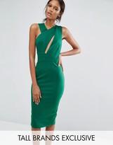 Taller Than Your Average TTYA Black Talex Sleeveless Asymmetric Detail Pencil Midi Dress
