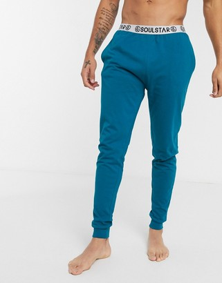 Soul Star organic cuffed lounge pant in blue