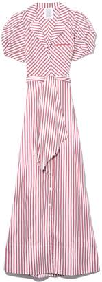 Rosie Assoulin Puff Sleeve Dress in Red/White