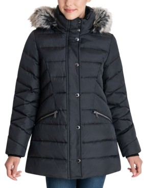 London Fog Faux-Fur Trim Hooded Puffer Coat
