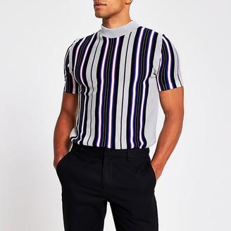 River Island Grey stripe slim fit knitted tee