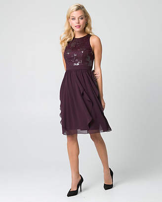 Le Château Lace & Chiffon Halter Cocktail Dress