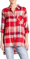 Seven7 Hi-Lo Straight Hem Plaid Shirt