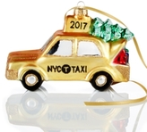 Holiday Lane Glass NYC Christmas Taxi Ornament, Created for Macy's