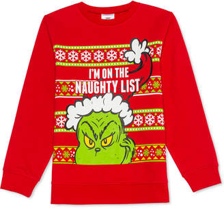 Dr. Seuss Big Boys The Grinch Naughty List Holiday Sweatshirt