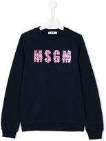 MSGM teen floral appliqué sweatshirt