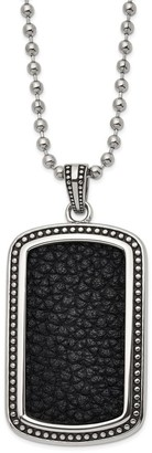 Chisel Stainless Steel Antiqued and Polished Black Leather Inlay Dog Tag 22-inch Necklace