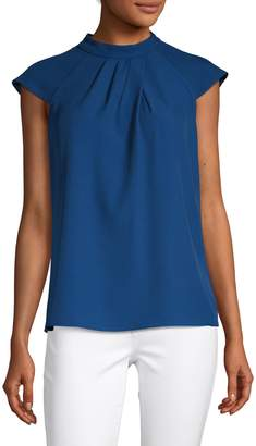 Calvin Klein Pleat Neck Cap-Sleeve Top