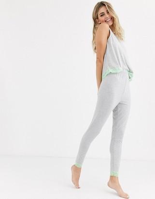 Asos Design DESIGN mix & match jersey neon lace trim legging-Grey