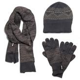 Muk Luks Men's Nordic Knit Hat, Scarf, And Texting Glove Set - Grey