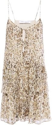 IRO Buzon Tiered Lace-up Leopard-print Silk-chiffon Mini Dress