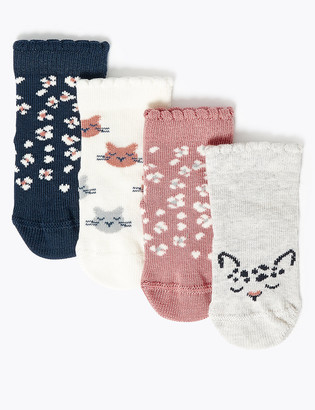 Marks and Spencer 4pk Cat Baby Socks (0-24 Mths)