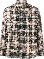 Saint Laurent distressed plaid shirt