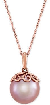 "Honora Cultured Pink Ming Pearl (12mm) & Diamond Accent 18"" Pendant Necklace in 14k Rose Gold"