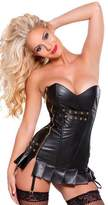 HDKO Women Faux Leather Side Zipper Back Straps Can Adjust The Size Corsets