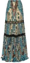 Roberto Cavalli Lace-trimmed Printed Silk-chiffon Maxi Skirt - Blue