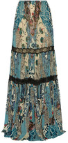 Roberto Cavalli Lace-trimmed Printed Silk-chiffon Maxi Skirt - IT40