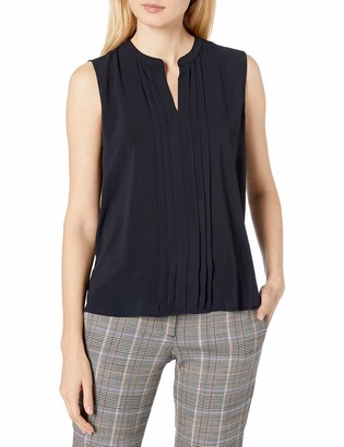 Calvin Klein Women's Sleeveless Pleat Front Blouse