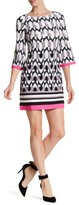 Eliza J 3/4 Sleeve Geo Print Dress