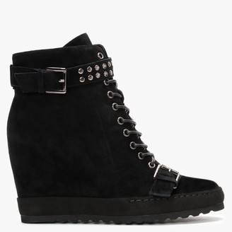 Daniel Pledge Black Suede Studded Wedge Ankle Boots