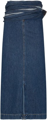 Y/Project Wrap-Waist Denim Midi Skirt