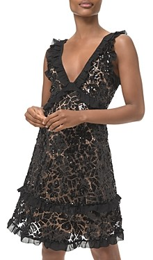 MICHAEL Michael Kors Ruffle Trimmed Sequined Lace Dress