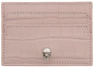 Alexander McQueen Pink Croc Skull Card Holder