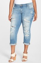Lucky Brand Plus Size Women's 'Reese' Ripped Boyfriend Jeans