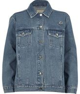 River Island Womens Blue authentic wash embroidered denim jacket