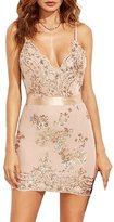 Moxeay Sexy Sequin Spaghetti Straps V Neck Backless Bodycon Club Party Mini Dress (M, )