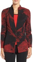 Ming Wang Women's One-Button Jacquard Knit Jacket