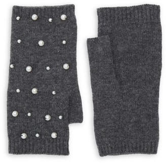 Carolina Amato Mini Faux Pearl Scatter Fingerless Gloves