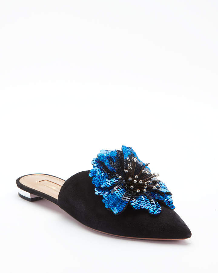 Aquazzura Disco Flower Flat Mule