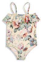 Zimmermann Kids Toddler's, Little Girl's & Girl's Jasper One-Piece Floral-Print Ruffle Swimsuit