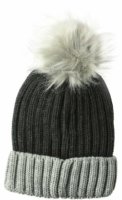D&Y Women's David & Young Colorblock Knit Beanie w/pom