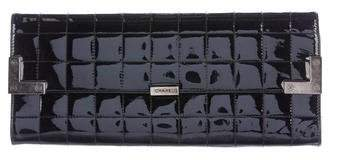Chanel Patent Leather Square Quilted Clutch